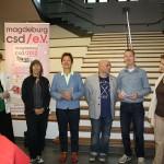 von links: Heike Ponitka (Gleichstellungsbeauftragte der Stadt), Tanja Walther-Ahrens, Beate Wübbenhorst (SPD), Sven Warminsky (LSVD), Mathias Fangohr (CSD e.V.) und Stadträtin Steffi Meyer (SPD)