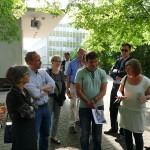Im Gespräch v.l.n.r.: Frau Schmidt (Geschäftstraßenmanagerin), Dr. Falko Grube (Stadtrat), Frau Damisch-Schwarz (Geschäftsstelle SPD), Marko Ehlebe (Stadtrat) und Frau Kriewald (Planerin)