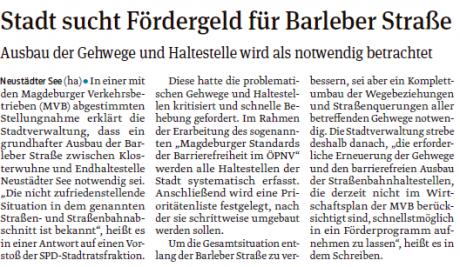 Stadt sucht Fördergelder für Barleber Straße-Volksstimme 21.04.2017