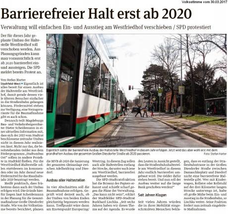 2017_03_30_Zur SN der VW_Barrierefreier Ausbau Waltestelle Westfriedhof verschoben