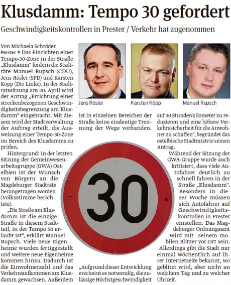 Klusdamm Tempo 30 gefordert - Volksstimme 12.04.2017