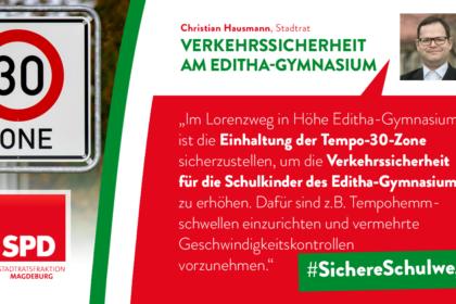 Maßnahmen zur Verkehrssicherheit im Lorenzweg – Höhe Editha-Gymnasium